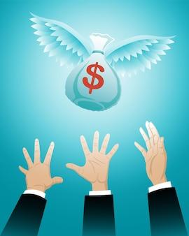 Conceito de negócio, três mãos de empresário perseguindo um saco de dinheiro voador