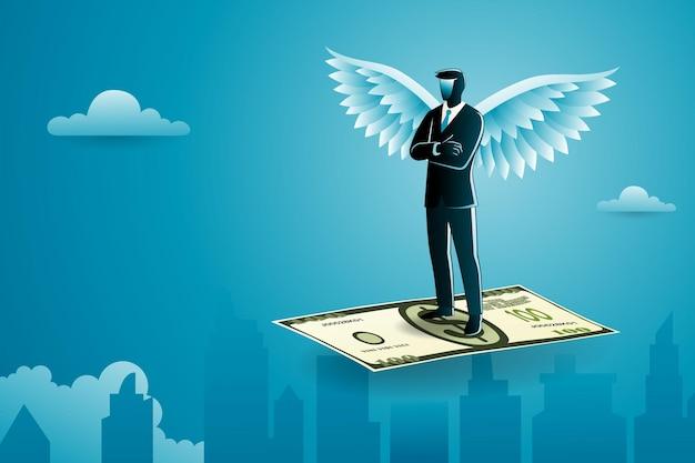 Conceito de negócio, um empresário alado de pé no dinheiro voador com os braços cruzados no peito cruzando a paisagem urbana