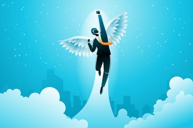 Conceito de negócio, um empresário alado decolar para o céu no fundo de edifícios