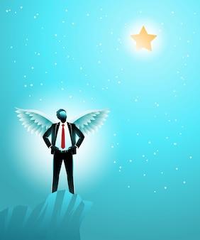 Conceito de negócio, um empresário com asas em pé na borda alta de um penhasco, enquanto olha para as estrelas no céu. simbolizando o alcance de uma ambição