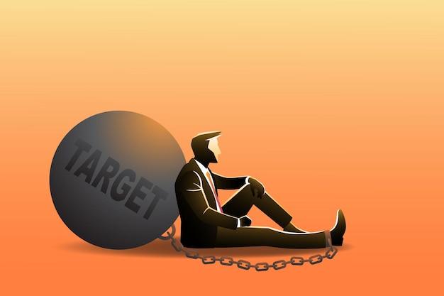 Conceito de negócio, um empresário sentar no chão enquanto se inclina na grande bola. simbolizando alvo pesado