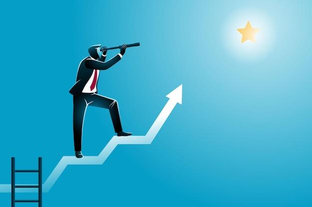 Conceito de negócio, um empresário usando o telescópio na seta do gráfico, olhando uma estrela, simbolizando o sucesso
