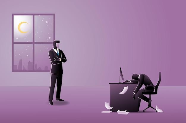 Conceito de negócio, um funcionário cansado na mesa do computador com a papelada espalhada sob a supervisão de seu chefe