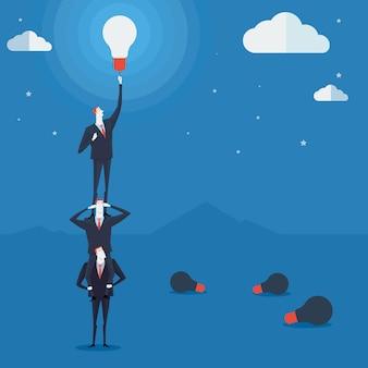 Conceito de negócio uma escada corporativa de sucesso.
