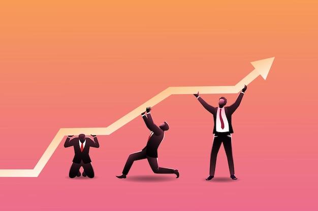 Conceito de negócio, vários empresários cooperam empurrando a seta para cima, simbolizando o trabalho em equipe e o crescimento dos negócios