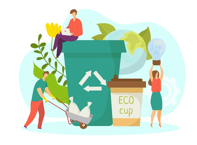 Conceito de negócio verde, ilustração vetorial. personagem de mulher plana usa produto ecológico, pessoas pequenas ficam perto da lixeira