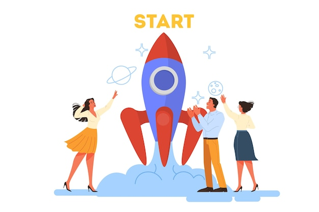 Conceito de negócios. as pessoas trabalham juntas em equipe. lançamento de foguete como uma metáfora de inicialização. desenvolvimento de negócios. ilustração ilustração