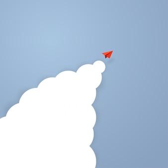 Conceito de negócios. avião de papel vermelho líder voando