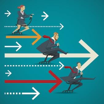 Conceito de negócios, comparação visual da competitividade das empresas no escritório. corrida de velocidade pela cadeira sentada.