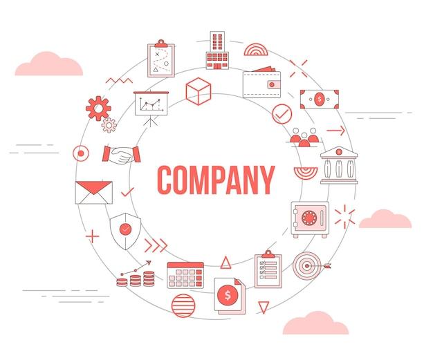 Conceito de negócios da empresa com conjunto de ícones de banner de modelo e ilustração em vetor círculo forma redonda