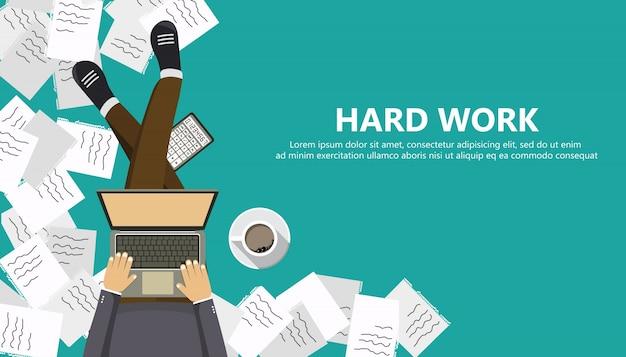 Conceito de negócios de trabalho duro