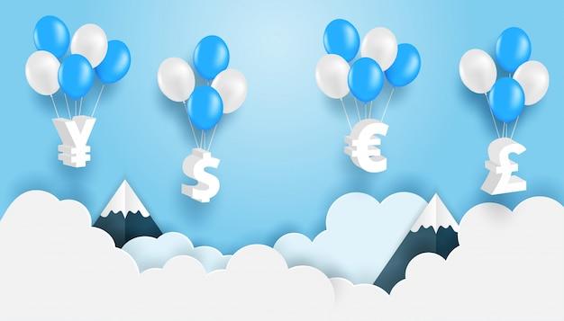 Conceito de negócios e finanças. grupo de sinal de moeda que pendura com o balão no céu azul. vetor. ilustração.