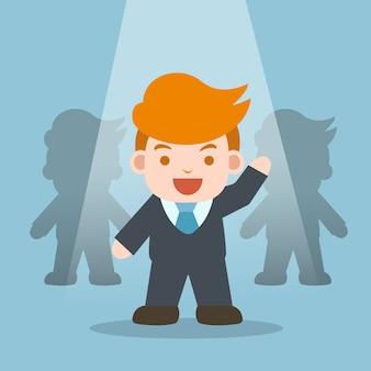 Conceito de negócios. empresário no centro das atenções, destacam-se da equipe.