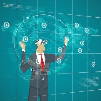 Conceito de negócios. empresário usando linhas de negócios de gerenciamento de óculos de realidade virtual. transações no mapa no mundo virtual