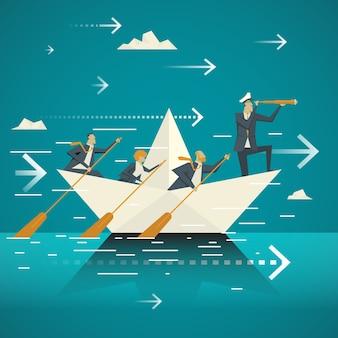 Conceito de negócios. equipe de negócios juntas andando pelo barco pelo oceano. controlado pelo ministério do governo sênior