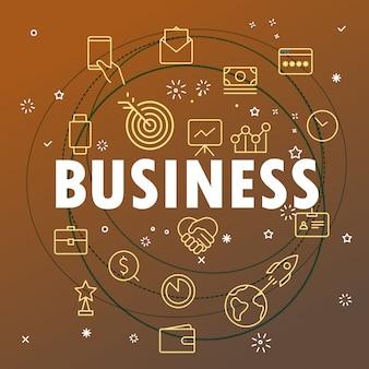 Conceito de negócios. ícones de linha fina diferentes incluídos