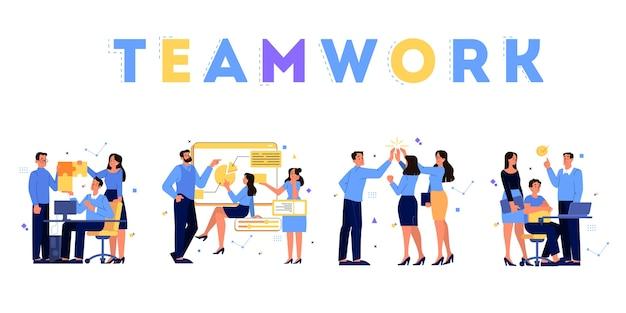 Conceito de negócios. ideia de estratégia e realização no trabalho em equipe. brainstorm e processo de trabalho. as pessoas trabalham juntas em equipe. ilustração