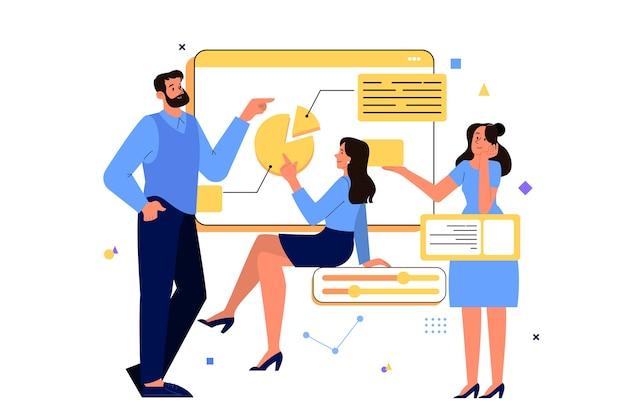 Conceito de negócios. ideia de estratégia e realização no trabalho em equipe. brainstorm e processo de trabalho. ilustração