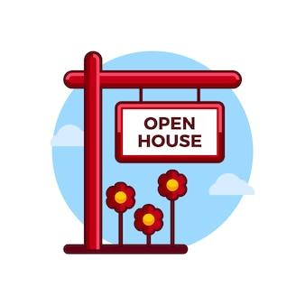 Conceito de negócios imobiliários com sinal de casa aberta