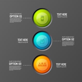 Conceito de negócios infográfico com três botões redondos coloridos conectados a parágrafos de texto editáveis