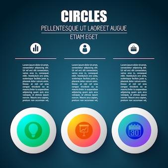 Conceito de negócios infográfico com três colunas de texto editáveis e silhuetas de pictograma em elementos de design redondos
