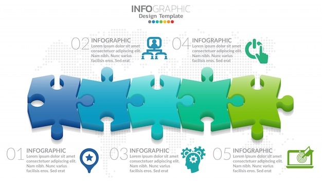 Conceito de negócios infográfico de quebra-cabeça