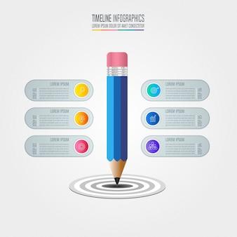 Conceito de negócios infográficos da linha do tempo com 6 opções.