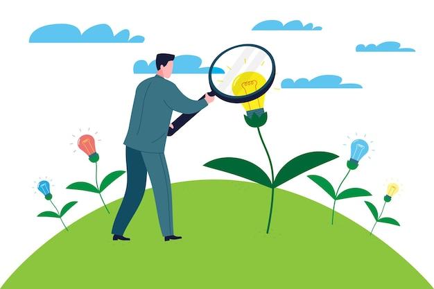 Conceito de negócios. investidor empresário está procurando uma nova ideia para investimento. metáfora de inicialização. ilustração plana dos desenhos animados em vetor.
