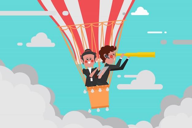 Conceito de negócios, líder de equipe, voando com um balão, telescópio de homem, as mulheres usam um computador com tablet de navegação, estilo de design de personagem de desenho animado