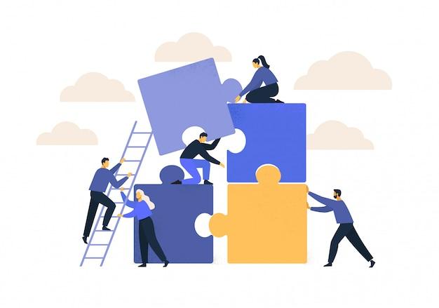 Conceito de negócios. metáfora da equipe. pessoas conectando elementos de quebra-cabeça.