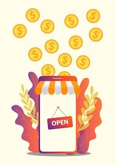 Conceito de negócios para m-commerce, fácil de usar e altamente personalizável.