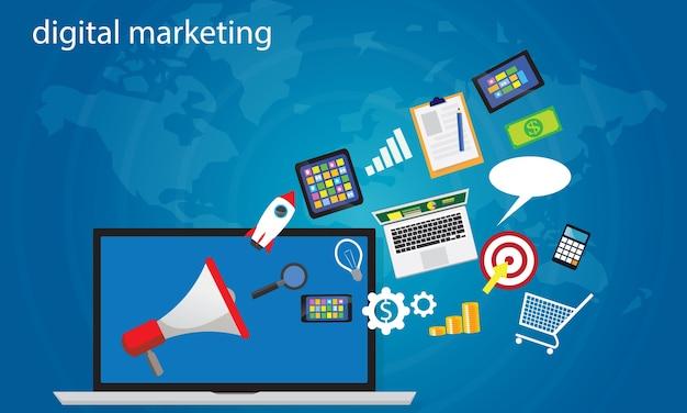 Conceito de negócios. vector de marketing digital online online