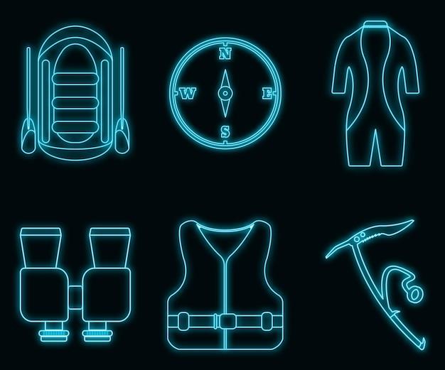 Conceito de néon brilho estilo turismo equipamento rafting e coleção de ícone de turismo, elemento de web maiô, ilustração vetorial, isolado no fundo da parede de tijolo preto.