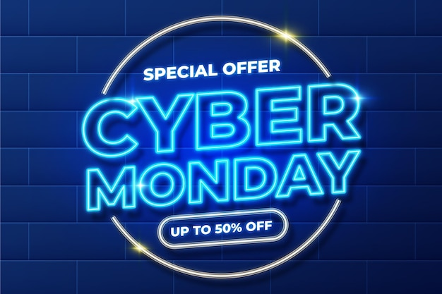 Conceito de néon cyber segunda-feira