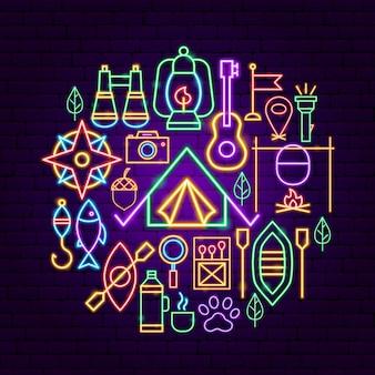 Conceito de néon do acampamento de verão. ilustração em vetor de promoção ao ar livre.