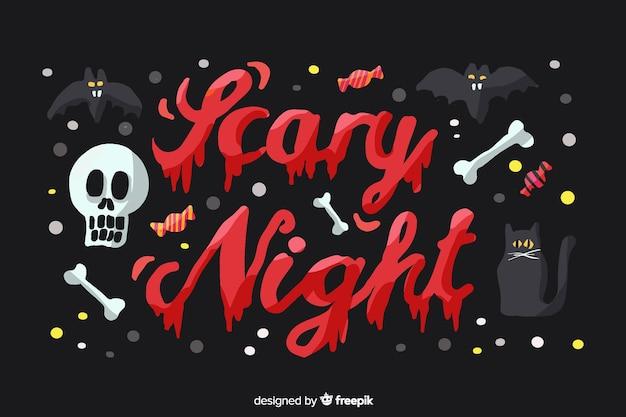 Conceito de noite assustadora de halloween com letras