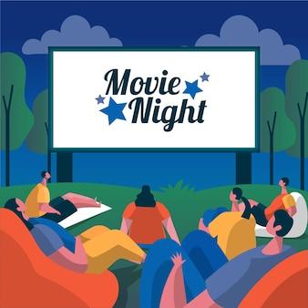 Conceito de noite de cinema ilustrado