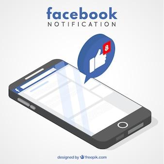 Conceito de notfication do facebook com smartphone