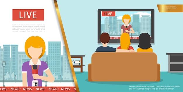 Conceito de notícias de tv plana