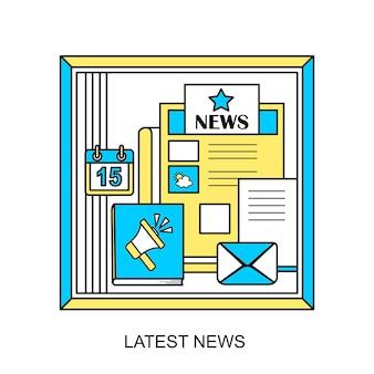 Conceito de notícias mais recente em estilo de linha fina