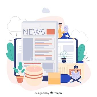 Conceito de notícias para a página de destino