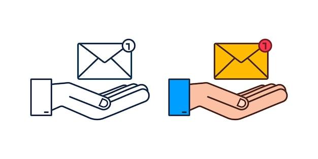 Conceito de notificação de e-mail com as mãos. novo email. ilustração vetorial.