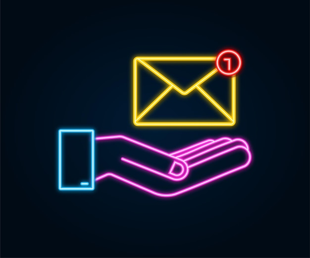 Conceito de notificação de e-mail de néon com as mãos. novo email. ilustração vetorial.