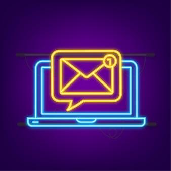 Conceito de notificação de e-mail ícone de néon novo e-mail sinal de notificação de marketing por e-mail