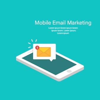 Conceito de notificação de e-mail no design isométrico