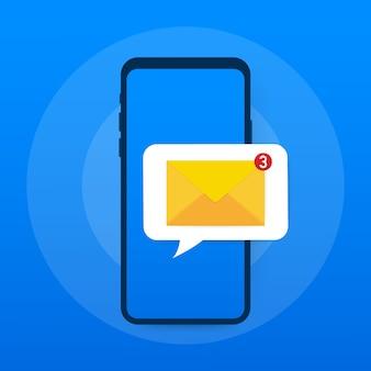 Conceito de notificação de e-mail. novo e-mail na tela do telefone inteligente.