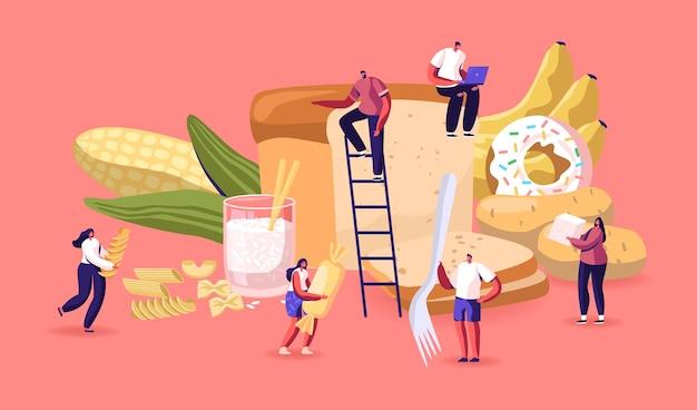 Conceito de nutrição de carboidratos. ilustração plana dos desenhos animados
