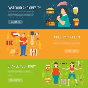 Conceito de obesidade de banners