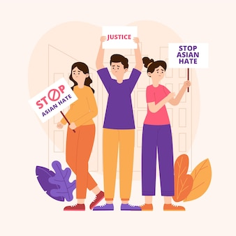 Conceito de ódio asiático de parada plana ilustrado