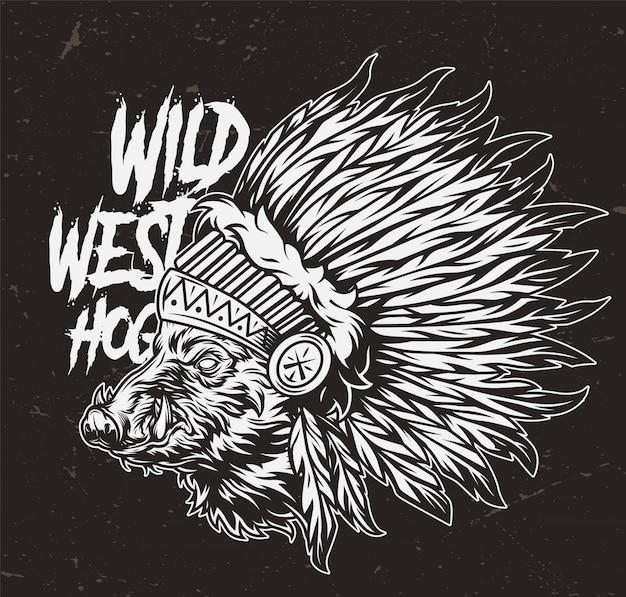 Conceito de oeste selvagem monocromático vintage
